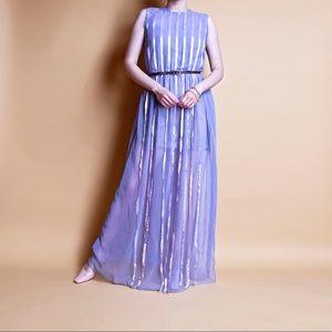 Vintage 70s sheer striped empire waist maxi dress